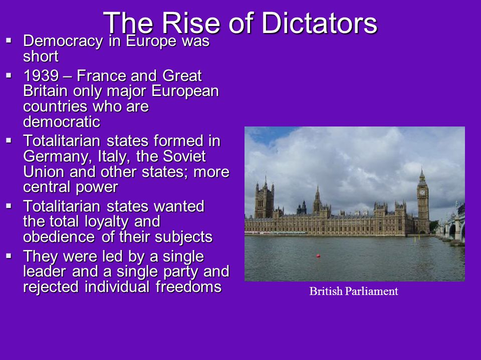 The Rise of Dictators Democracy in Europe was short