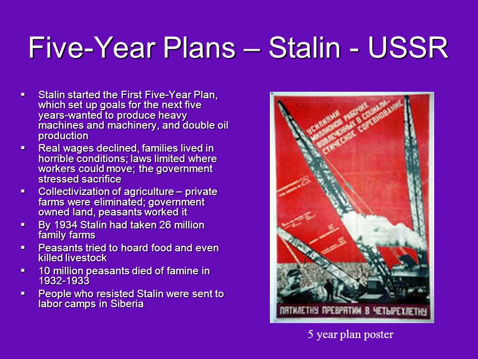 Five-Year Plans – Stalin - USSR
