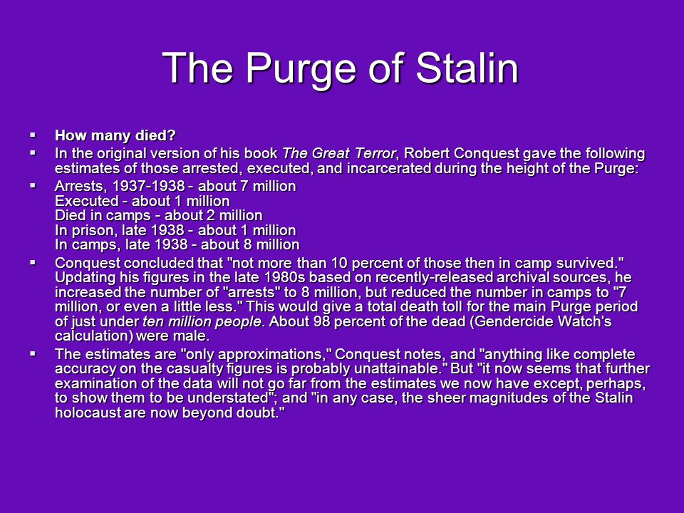 The Purge of Stalin How many died