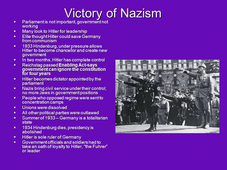 Victory of Nazism Parliament is not important, government not working