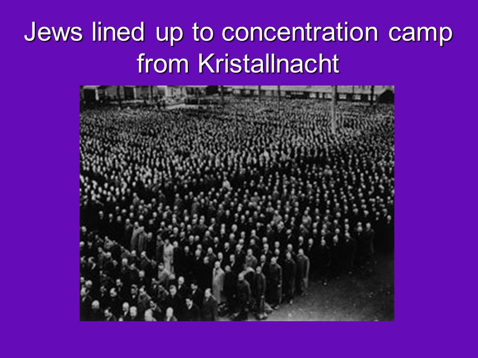 Jews lined up to concentration camp from Kristallnacht