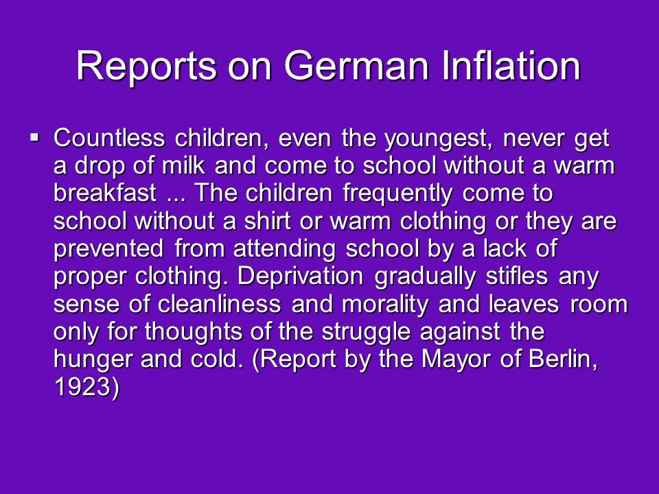 Reports on German Inflation