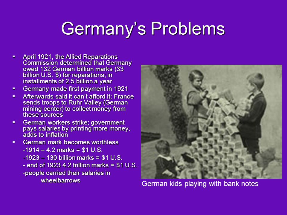 Germany's Problems German kids playing with bank notes
