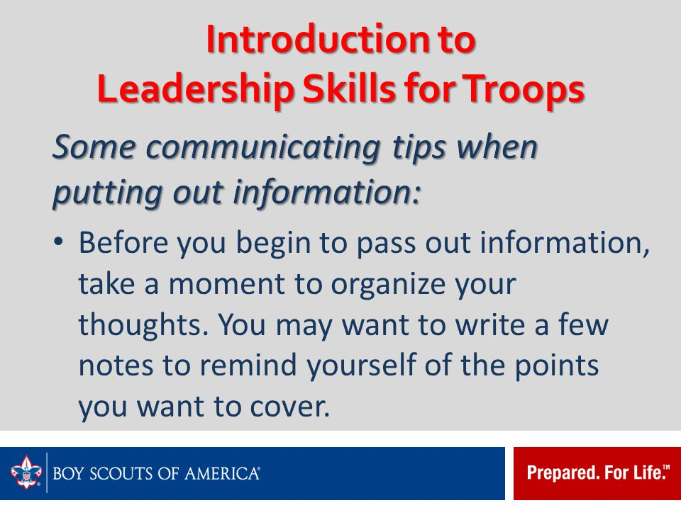 introduction to leadership skills for troops ppt