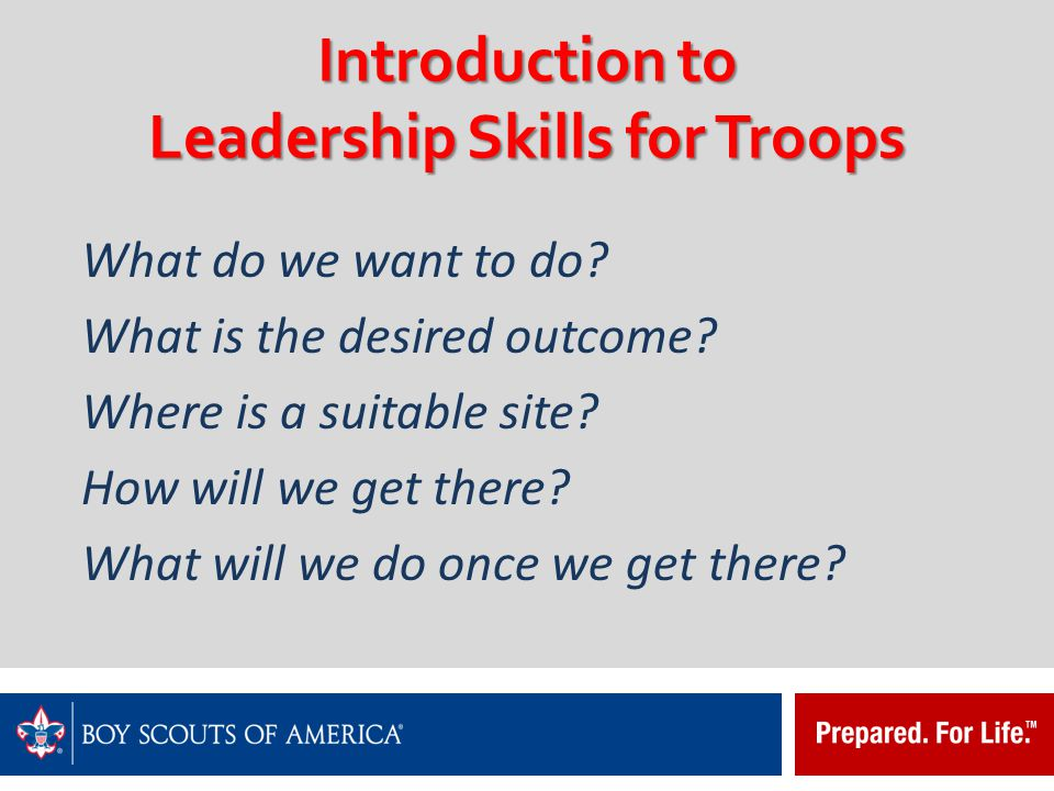Introduction to Leadership Skills for Troops