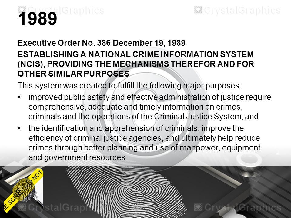 1989 Executive Order No. 386 December 19, 1989