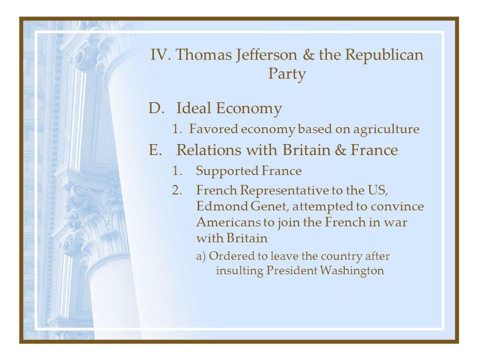 IV. Thomas Jefferson & the Republican Party