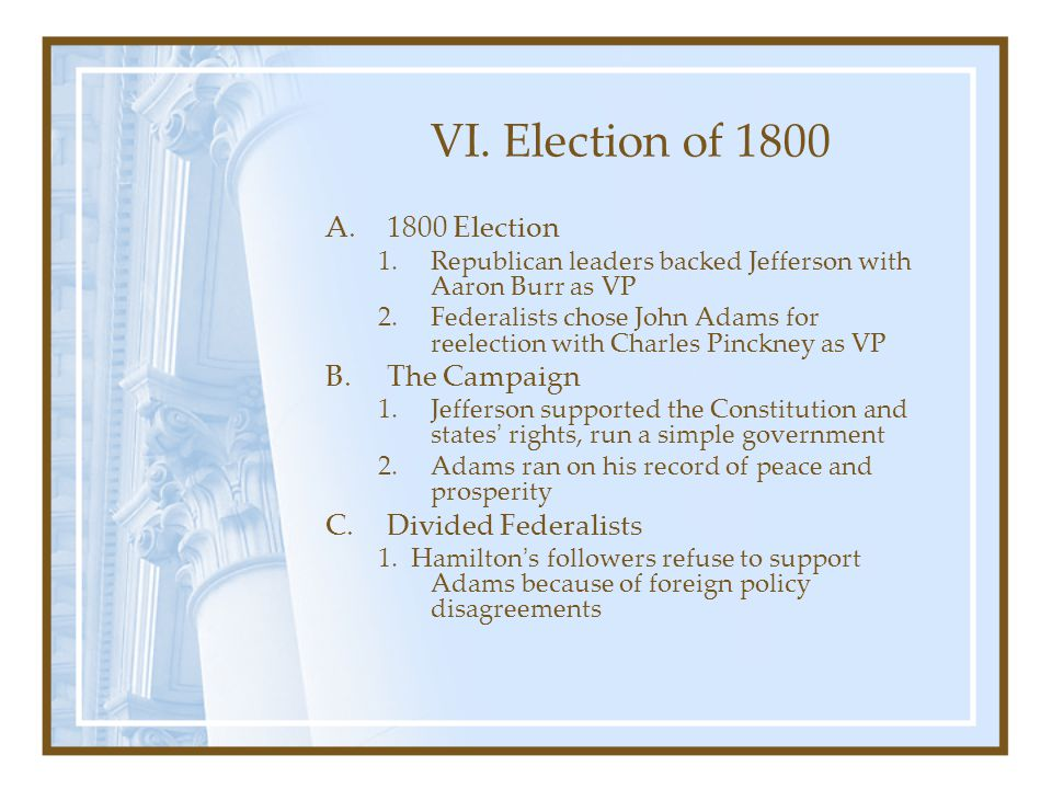 VI. Election of 1800 1800 Election The Campaign Divided Federalists