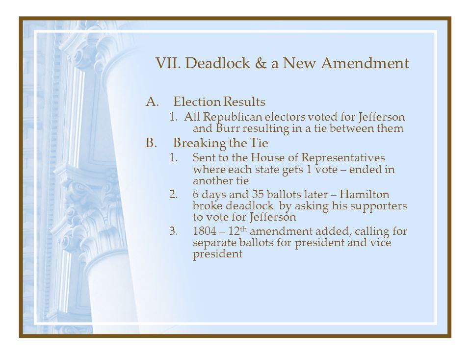 VII. Deadlock & a New Amendment
