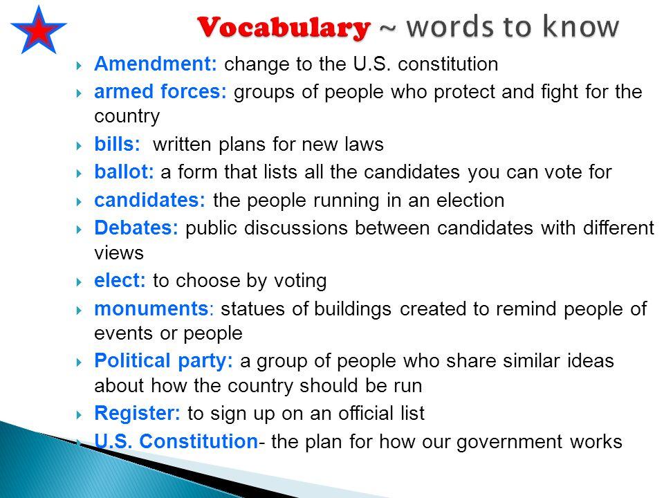 Vocabulary ~ words to know