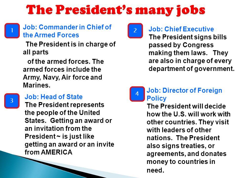 The President's many jobs