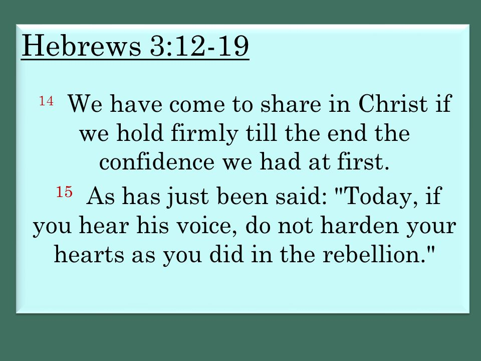 Hebrews 3:12-19 14 We have come to share in Christ if we hold firmly till the end the confidence we had at first.