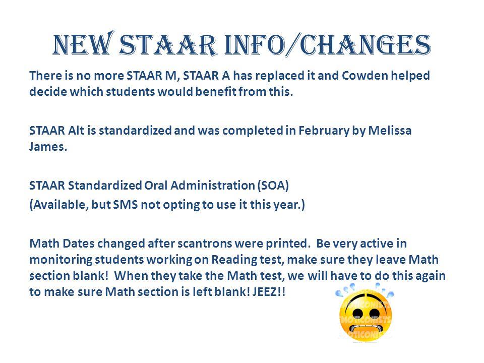 New STAAR Info/Changes
