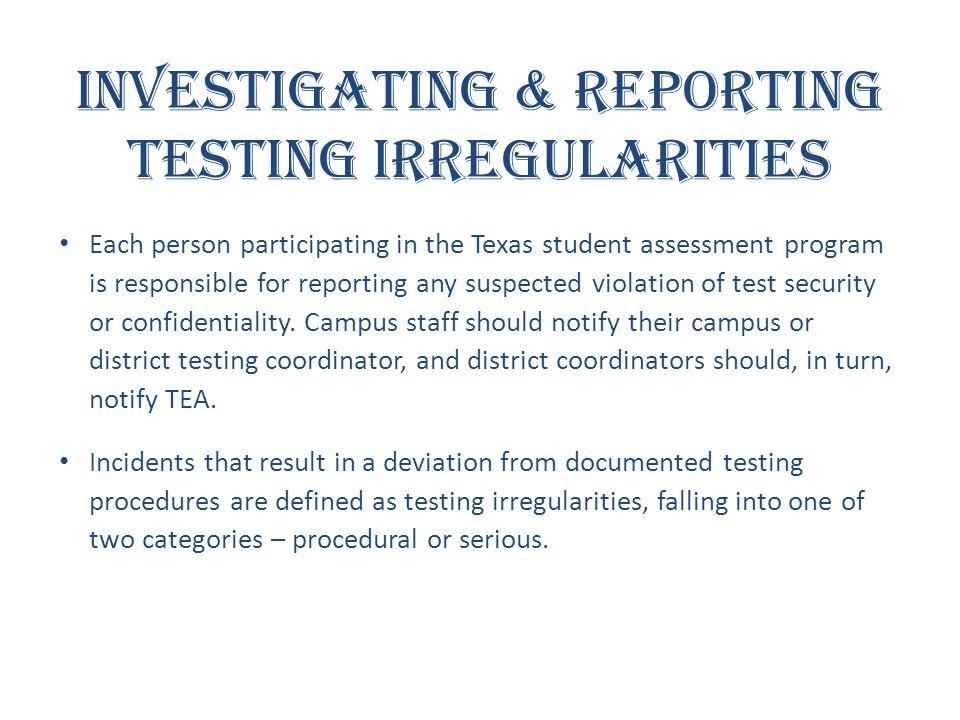 Investigating & Reporting Testing Irregularities