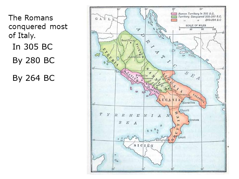 The Romans conquered most of Italy.