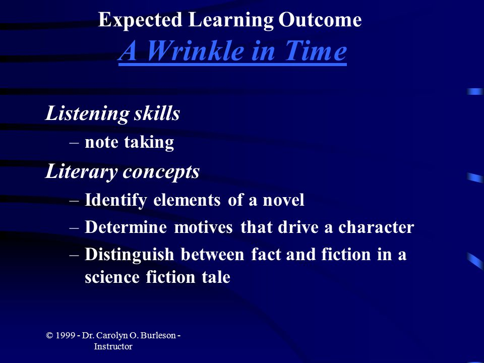 Expected Learning Outcome A Wrinkle in Time