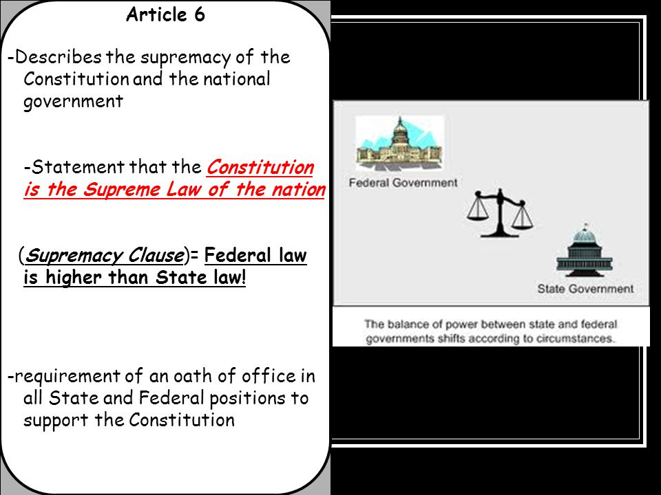 Article 6 -Describes the supremacy of the Constitution and the national government.