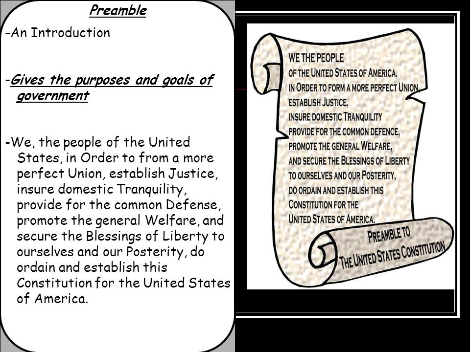 Preamble -An Introduction. -Gives the purposes and goals of government.