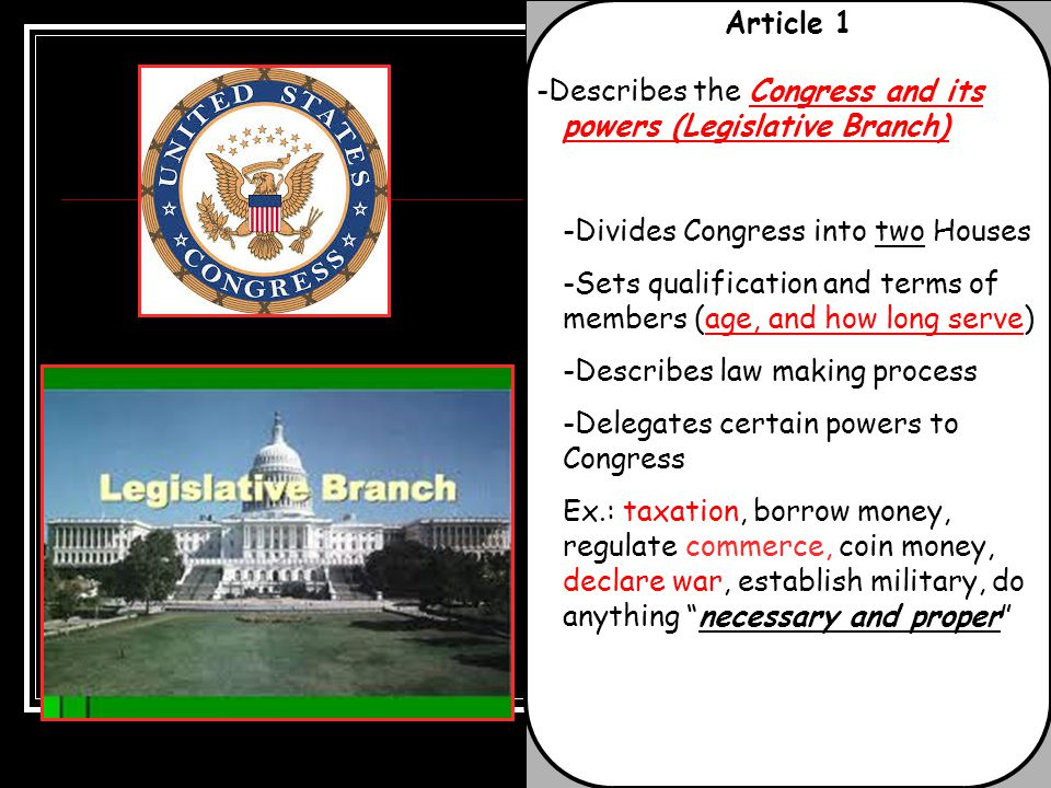 Article 1 -Describes the Congress and its powers (Legislative Branch) -Divides Congress into two Houses.