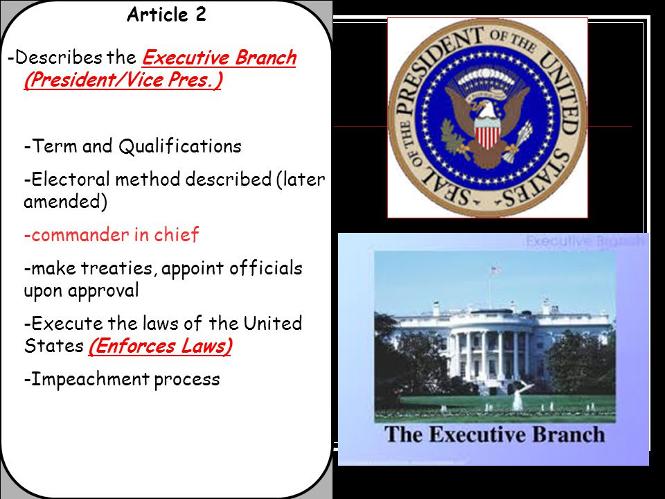 Article 2 -Describes the Executive Branch (President/Vice Pres.) -Term and Qualifications. -Electoral method described (later amended)