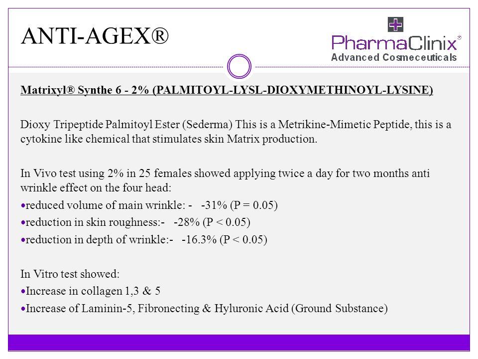 ANTI-AGEX® Matrixyl® Synthe 6 - 2% (PALMITOYL-LYSL-DIOXYMETHINOYL-LYSINE)