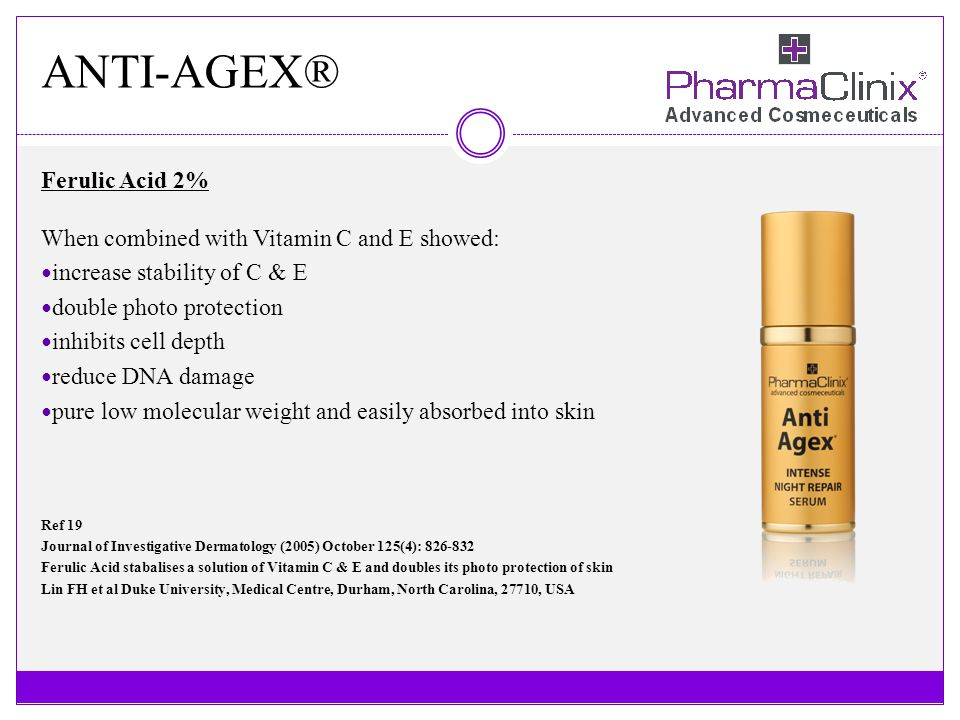 ANTI-AGEX® Ferulic Acid 2% When combined with Vitamin C and E showed: