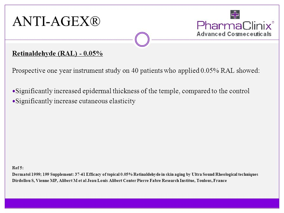 ANTI-AGEX® Retinaldehyde (RAL) - 0.05% Prospective one year instrument study on 40 patients who applied 0.05% RAL showed: