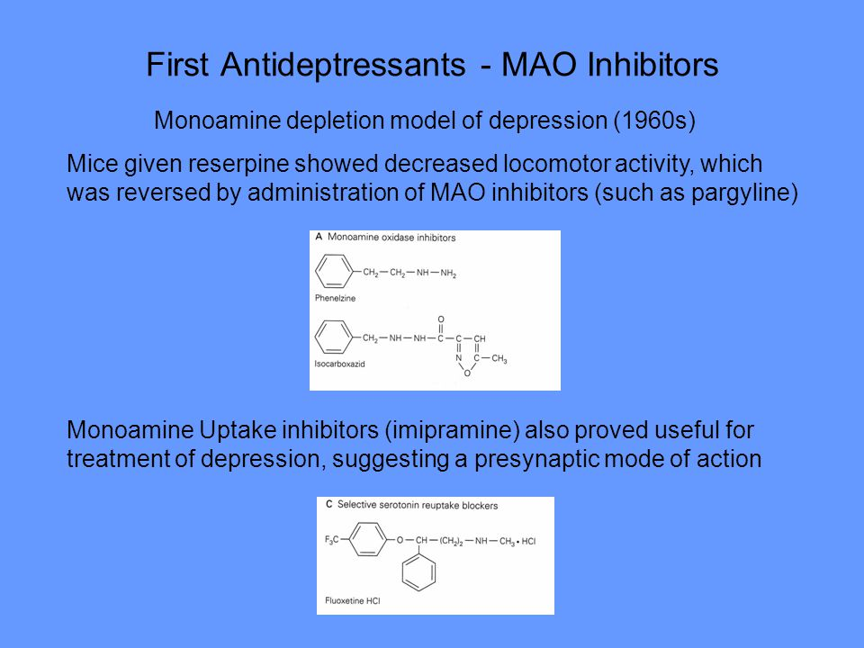 First Antideptressants - MAO Inhibitors