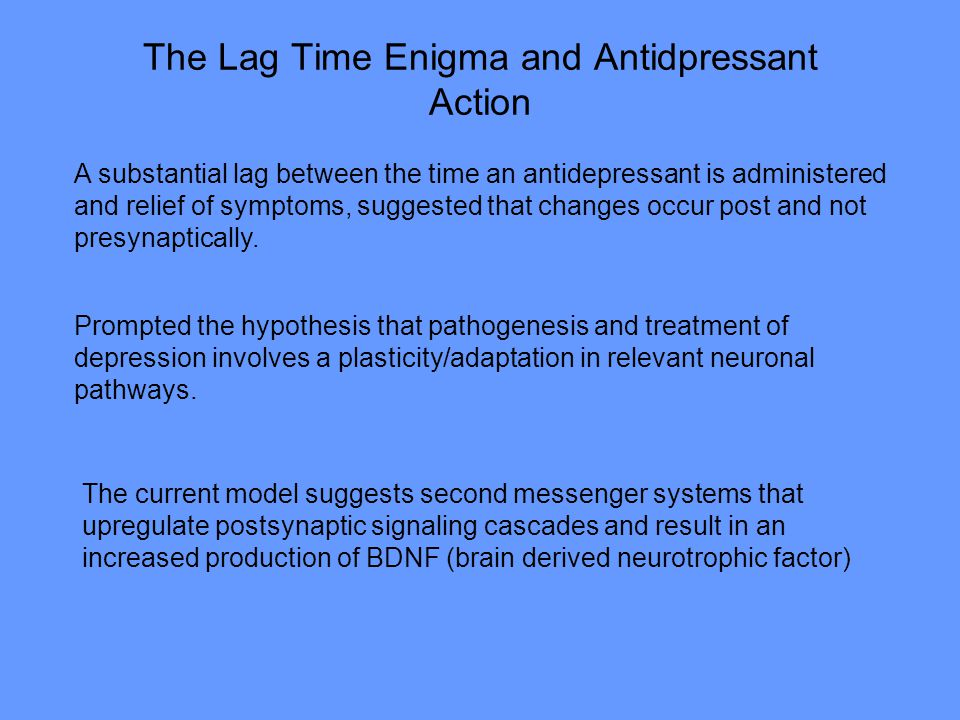 The Lag Time Enigma and Antidpressant Action