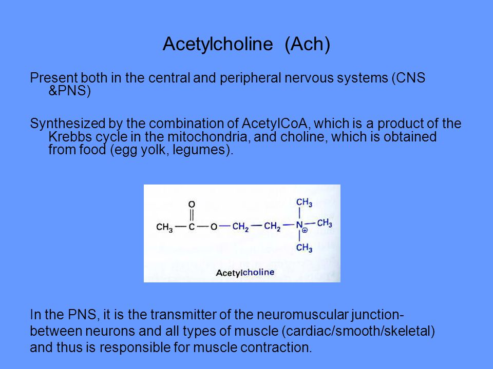 Acetylcholine (Ach) Present both in the central and peripheral nervous systems (CNS &PNS)