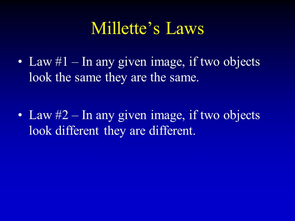 Millette's Laws Law #1 – In any given image, if two objects look the same they are the same.
