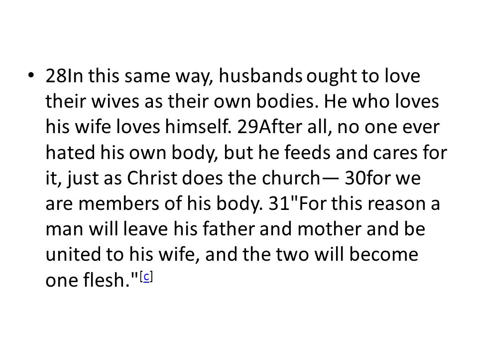28In this same way, husbands ought to love their wives as their own bodies.