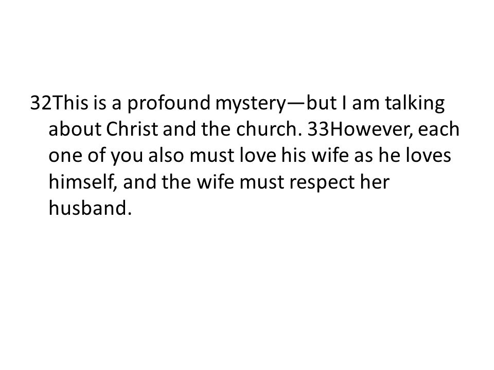 32This is a profound mystery—but I am talking about Christ and the church.