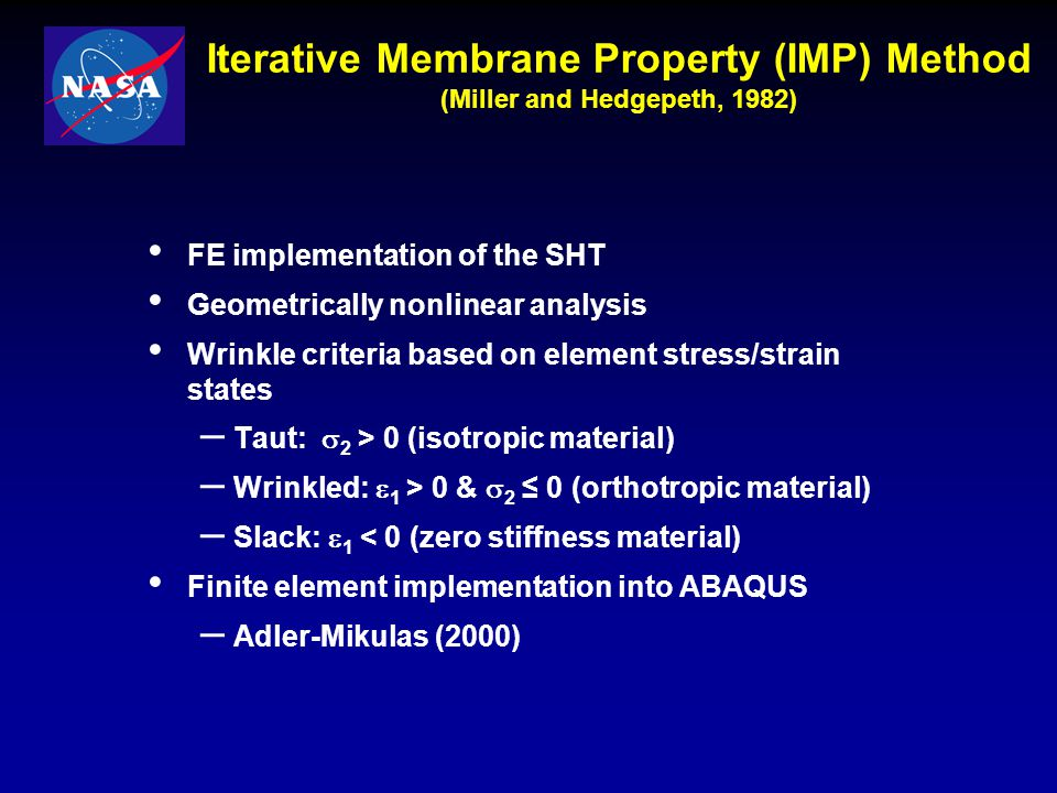 Iterative Membrane Property (IMP) Method (Miller and Hedgepeth, 1982)