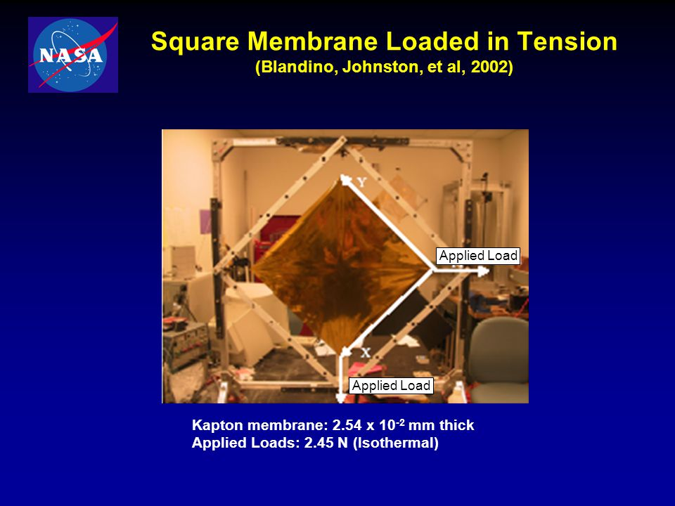 Square Membrane Loaded in Tension (Blandino, Johnston, et al, 2002)
