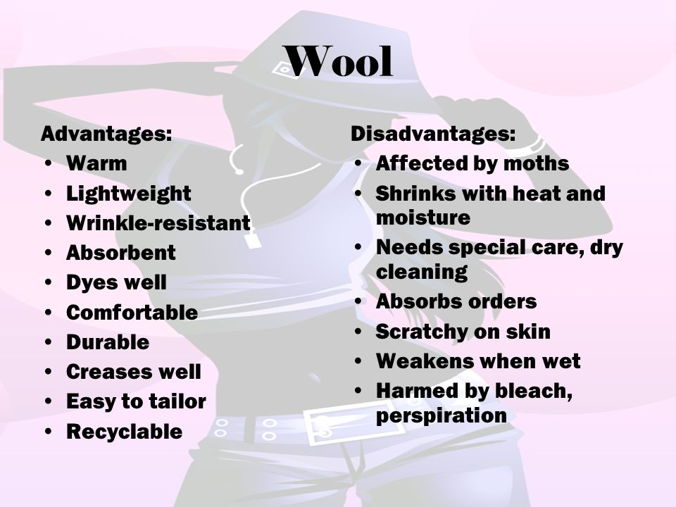 Wool Advantages: Warm Lightweight Wrinkle-resistant Absorbent