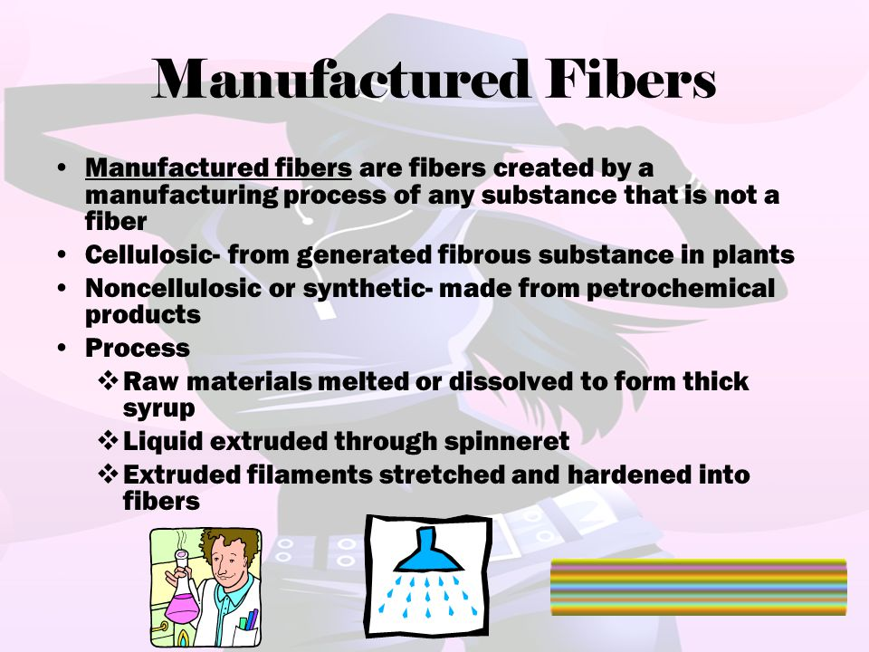 Manufactured Fibers Manufactured fibers are fibers created by a manufacturing process of any substance that is not a fiber.