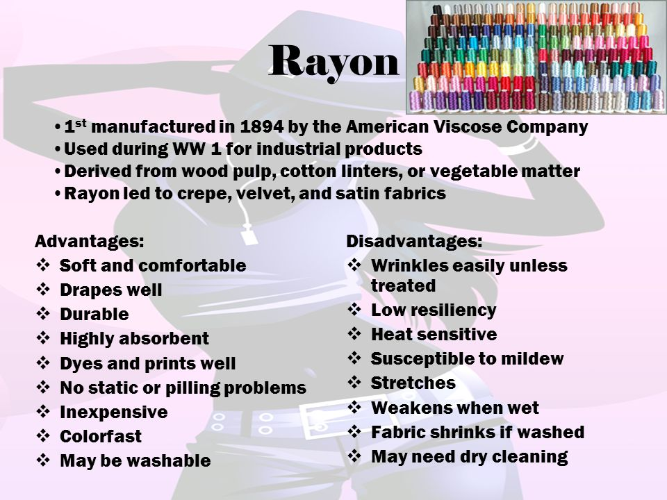 Rayon 1st manufactured in 1894 by the American Viscose Company