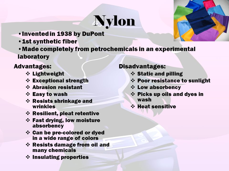 Nylon Invented in 1938 by DuPont 1st synthetic fiber