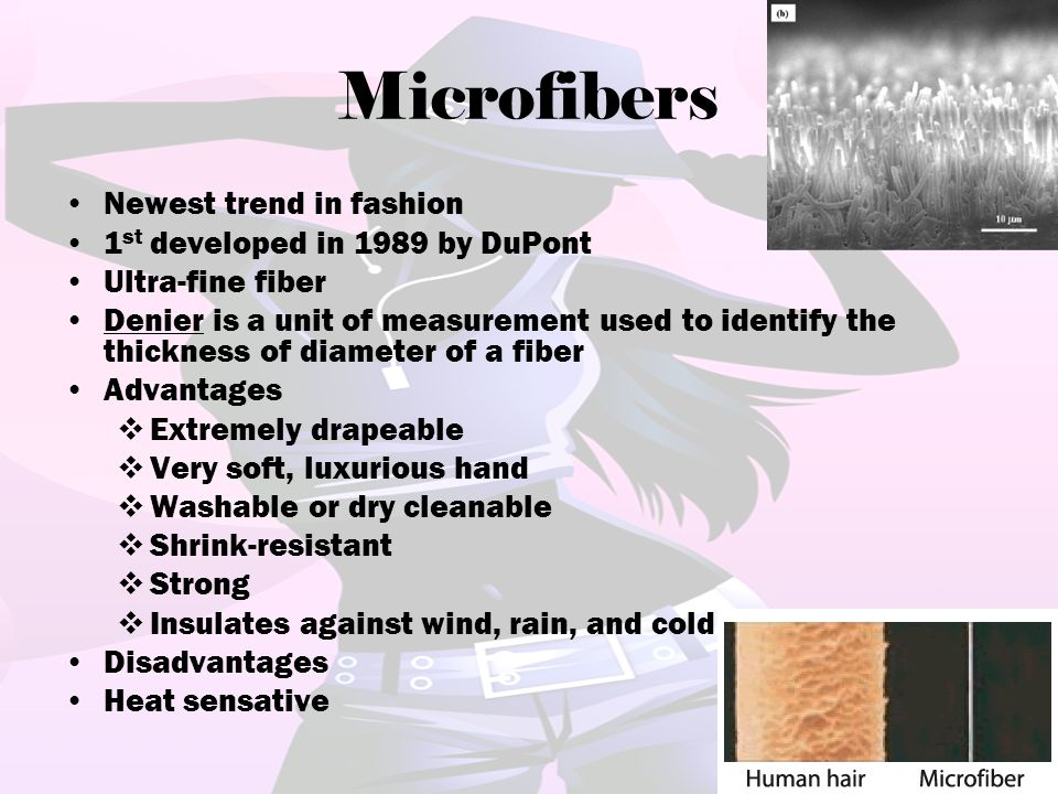 Microfibers Newest trend in fashion 1st developed in 1989 by DuPont