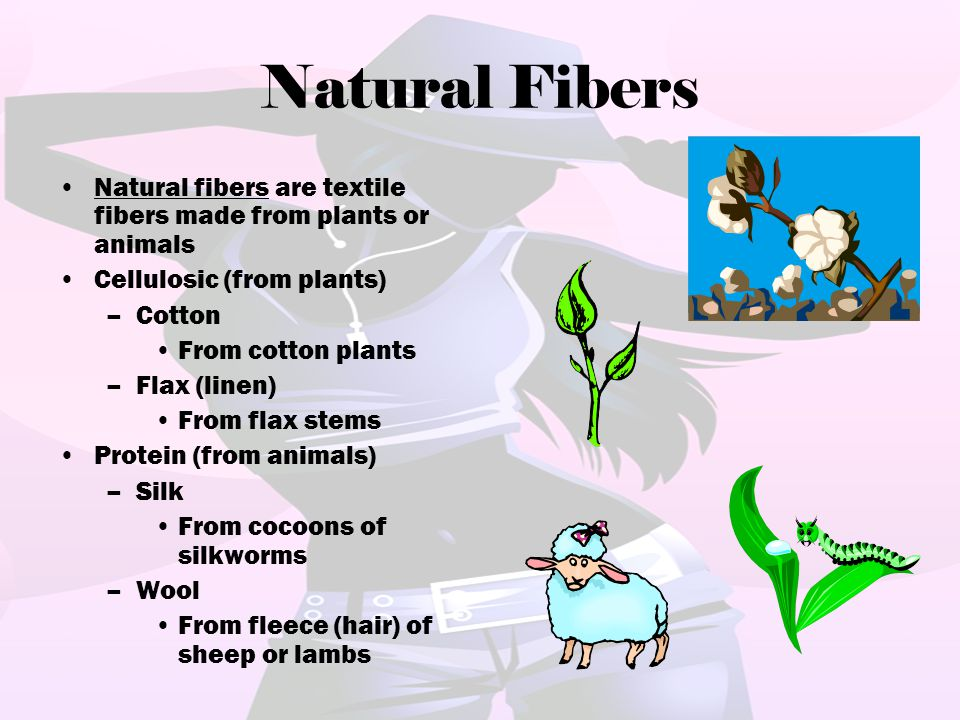 Natural Fibers Natural fibers are textile fibers made from plants or animals. Cellulosic (from plants)