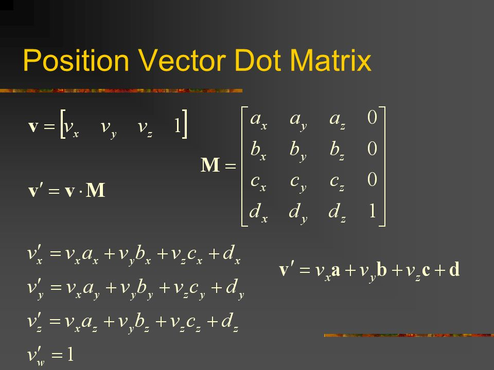 Position Vector Dot Matrix