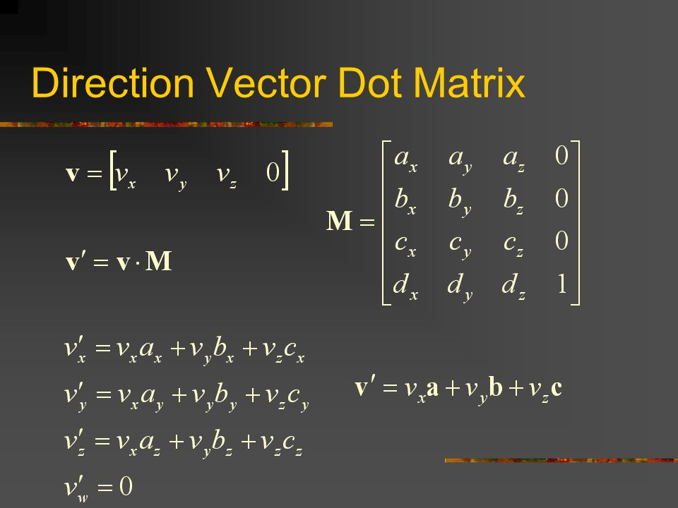 Direction Vector Dot Matrix