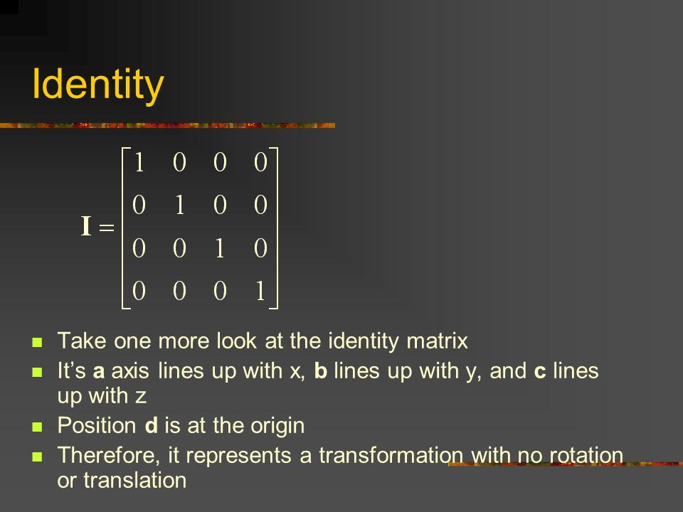 Identity Take one more look at the identity matrix