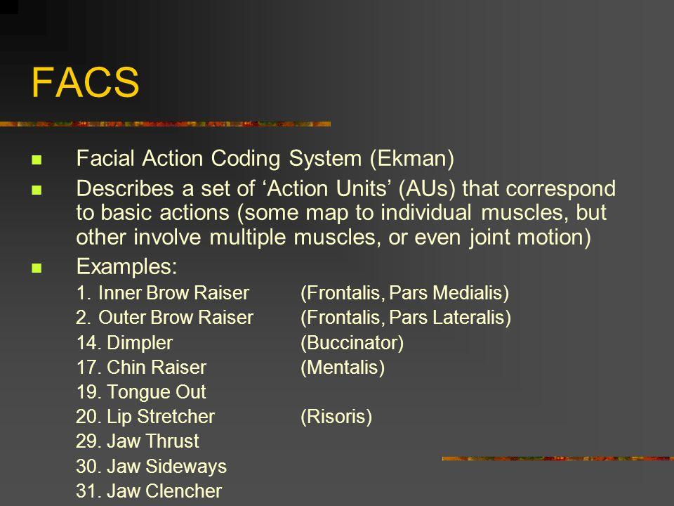 FACS Facial Action Coding System (Ekman)