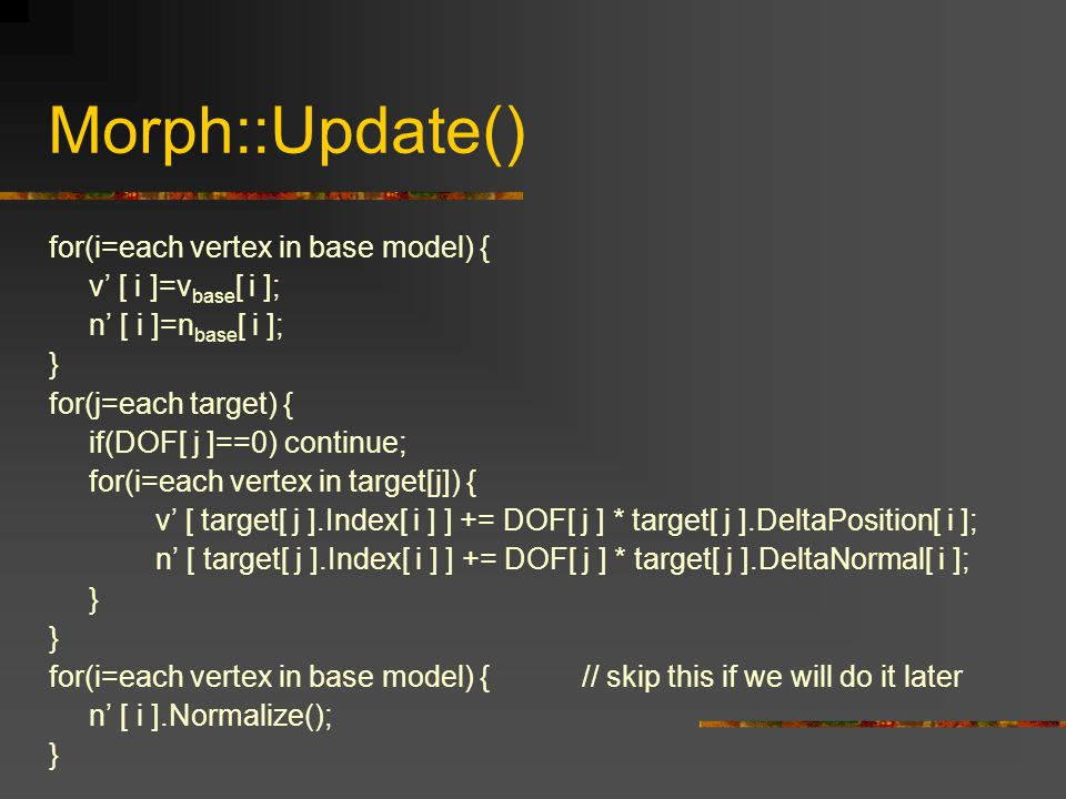 Morph::Update() for(i=each vertex in base model) {