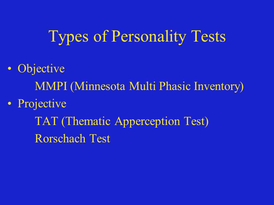 Types of Personality Tests