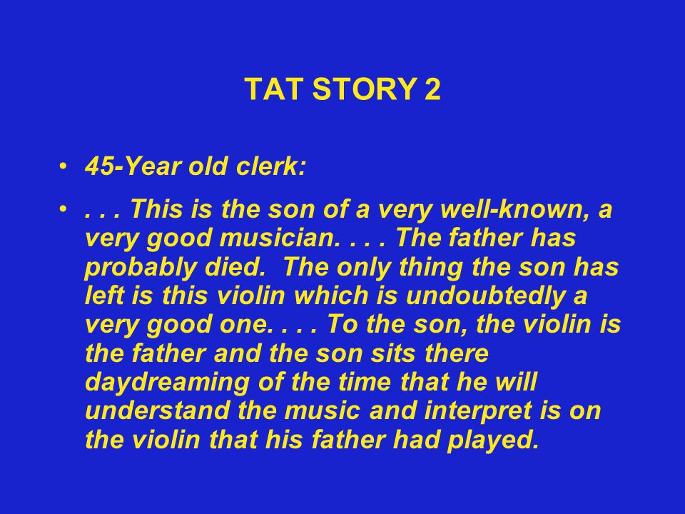 TAT STORY 2 45-Year old clerk: