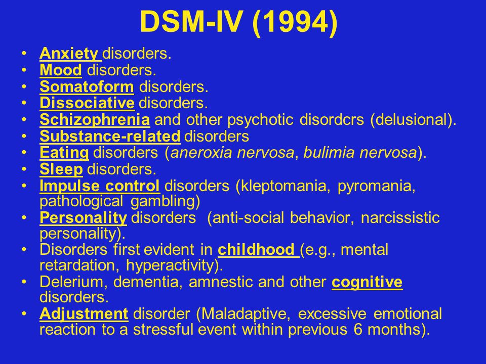 DSM-IV (1994) Anxiety disorders. Mood disorders. Somatoform disorders.