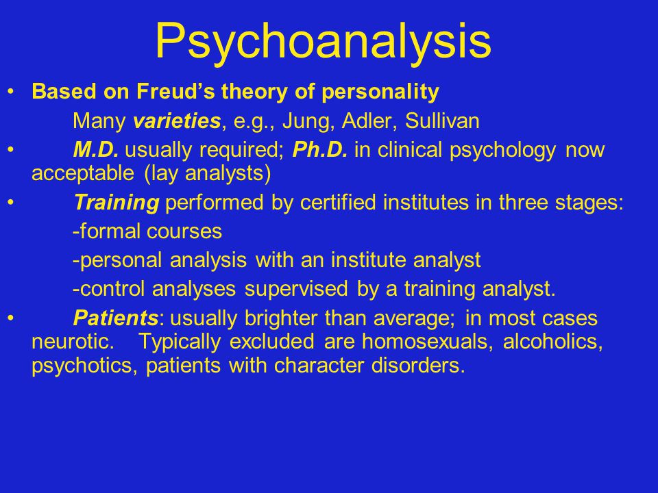 Psychoanalysis Based on Freud's theory of personality